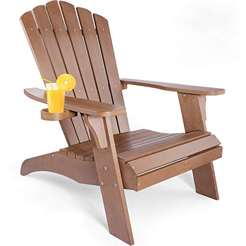 Adirondack Chair with Cup Holder, Fade-Resistant Outdoor Seating with 350lbs Duty Rating, All-Weather Plastic Patio Chair for Fire Pit & Garden, 38L 30.25W 41.5H (Brown)