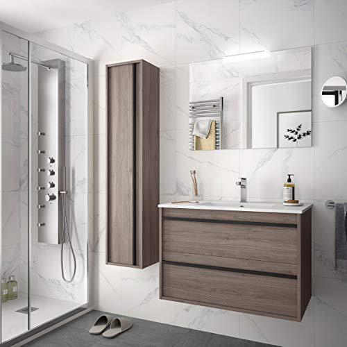Yellowshop. - Mobile Bagno sospeso Legno Modello Attila 80 cm con lavabo Specchio LED e Colonna Varie Colorazioni (Eternity (Completa + Colonna))