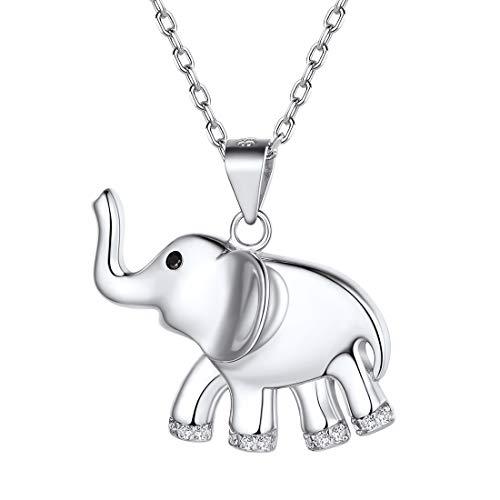 ChicSilver Elefante Oro Blanco Collar Plata de Ley 925 Moderno Cadena Ajustable Antialérgica Colgante Animal Simple para Mujeres y Muchachas