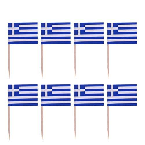 Amosfun 100 Stück Mini Griechenland Flagge Zahnstocher Cupcake Topper Holz Cocktail Spieße Dessert Obst Picks für Bar Restaurant Cocktail Sport Party Dekoration Lieferungen (Griechenland)