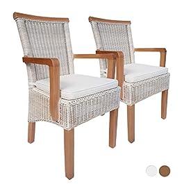 casamia Lot de 2 chaises de salle à manger avec accoudoirs en rotin Blanc Perth mit/sans coussin d'assise