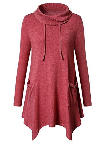 Amrto Damen Bluse Turtleneck Asymmetrische Saum Langarm Tops Lange Hemd Pullover Tunika mit Taschen, Leichte Koralle XL