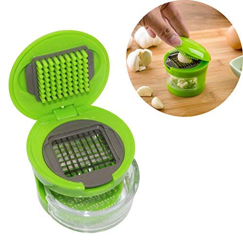Abcsea Garlic Chopper, Garlic Dicer and Slicer, Mini Garlic Press with Stainless Steel Blades and Inbuilt Clear Plastic Tray - Green