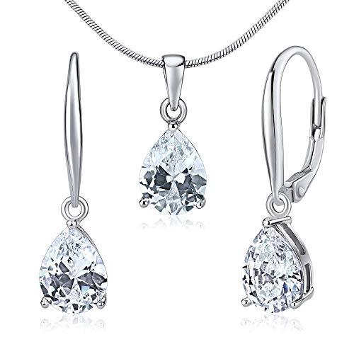 SILVEGO Damen Schmuck-Set aus 925 Sterling Silber Zirkonia Tropfen klar Ohrringe und Anhänger