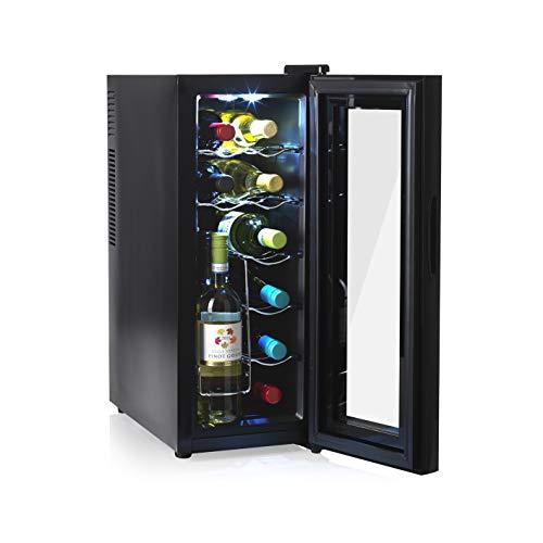 N8Werk Weinkühlschrank für 12 Flaschen, freistehender Weinschrank mit doppelwandiger...