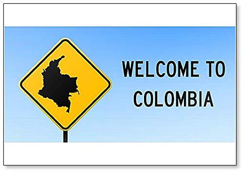 Colombia Map on Road Sign Illustration Koelkast Magneet