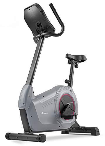 Hop-Sport Heimtrainer Fahrrad HS-100H inkl. Unterlegmatte - Ergometer mit App-Steuerung, 12 Trainingsprogrammen, 32 computergesteuerten Widerstandsstufen - Fitnessbike max. Nutzergewicht 150 kg Grau