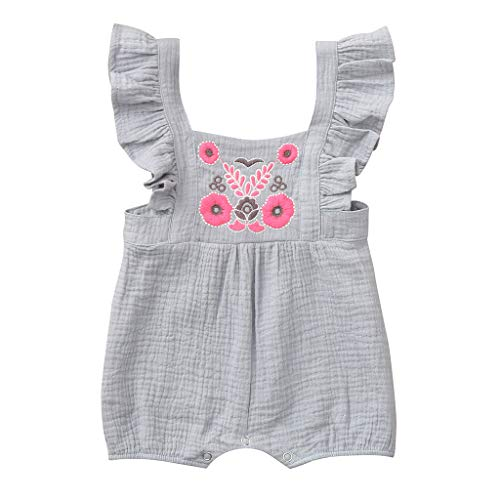 Buy Discount 0-24M Newborn Infant Baby Girls Cotton Blend Rompers Embroidery Print Short Sleeve Summ...