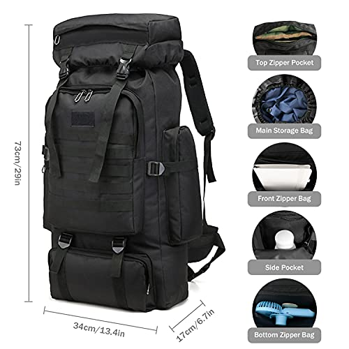 CLINFISH 75L Camping Hiking Backpack Lightweight Large Packable Bag Waterproof Backpack Travel Outdoor Daypacks