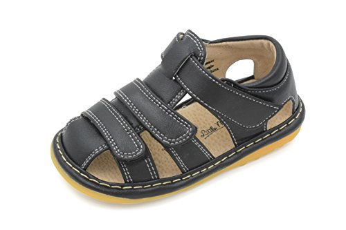 Little Mae's Boutique Toddler Boy Black Adjustable Strap Closed Toe Squeaky Sandals, Ideal Baby Walking Shoes, Removable Squeakers (3)