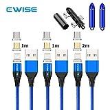 Ewise マグネット 充電ケーブル 3in1 最新型 ライトニングケーブル [2m+1m+1m] コネクタ交換 (MicroUSB/TypeC/ライトニング) 3種類対応 3A 急速充電 高速データ転送 QC3.0対応 コネクタ収納ボックス付き (1M+1M+2M,ブルー)