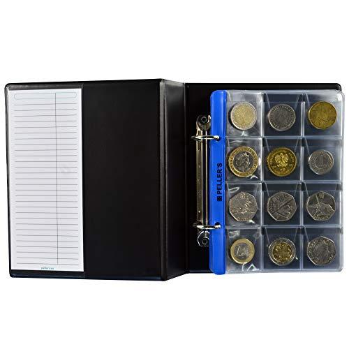 PELLER'S Album pour 120 Monnaies (classeur S). 10 Feuilles pour chacune 12 Pochettes: 35mm x 35mm. Idéal pour Les pièces en Euros et Autres jusqu'à 28 mm de diamètre.