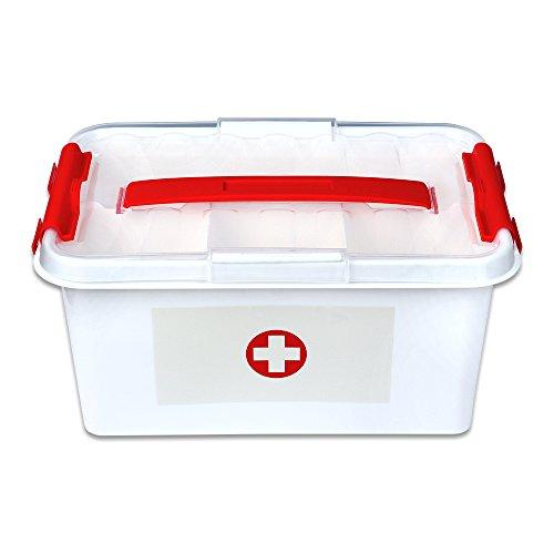 Schramm® Medizinbox 30cm x 20cm x 14cm Plastik Erste Hilfe Box Aufbewahrungskasten Medizin Box mit Griff mit herausnehmbarem Ablagefach Arzneimittelbox Medikamentenbox Organizer