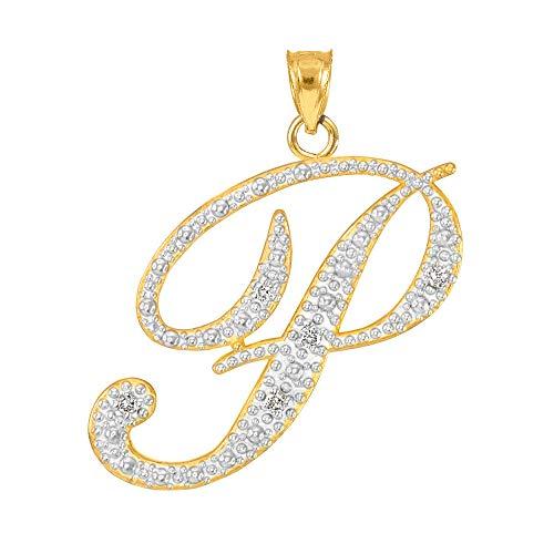Fine 14k Yellow Gold Diamond Script Letter P Initial Pendant