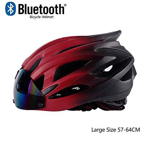GuoYq Casco de Bicicleta Ligero, Casco Ajustable Profesional aerodinámico Urbano Integrado con Gafas magnéticas Inteligentes Bluetooth incorporadas, estándar CE de la UE