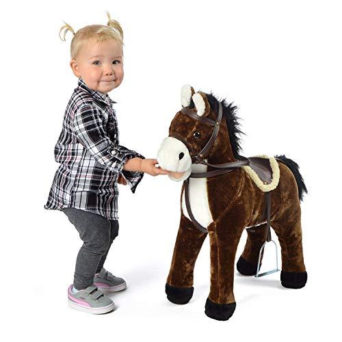 Pink Papaya Plüschpferd XXL 60 cm - Stehpferd Timmy - Fast lebensgroßes Spielpferd zum Drauf sitzen bis 100 kg belastbar, mit verschiedenen Sounds, Spielzeug Pferd zum Träumen Toys