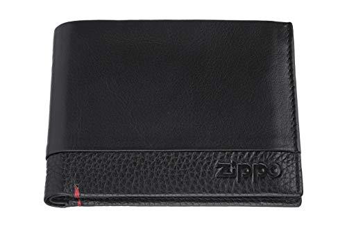 Zippo Nappa leather tr fold wallet Portamonete 12 centimeters Nero (Black)