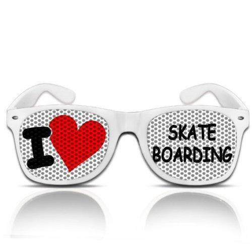 Partybrillen und Promotionbrillen Fasching Karneval Atzenbrille mygafas - I love skateboarding (Weiß)