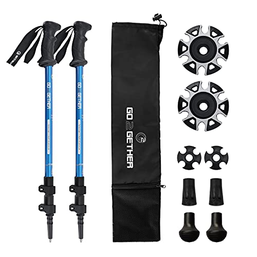 aluminum poles for hiking walkings G2 GO2GETHER Telescopic Hiking Trekking Poles - Strong Aircraft Alloy Walking Sticks with Comfort BMM Handle - Quick Locks System (2pc)