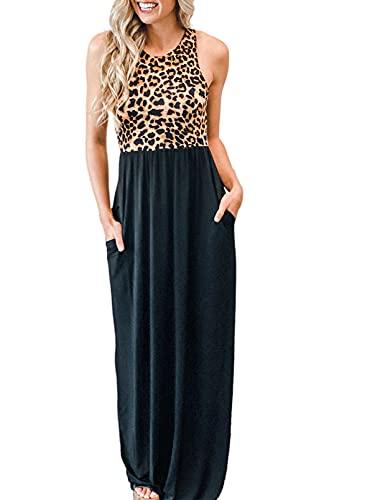 CORAFRITZ Vestido de verano casual con cuello redondo y estampado de leopardo, ligero, con bloque de color flojo, ajuste holgado, largo vestido de verano