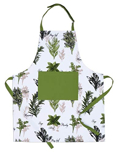 AMOUR INFINI Herb Garden Apron | 27.5 x 33 inches | 100% Natural Cotton | Womens Apron for Cooking, Baking, Gardening | Convenient Pockets and Adjustable Strap at Neck & Waist Ties