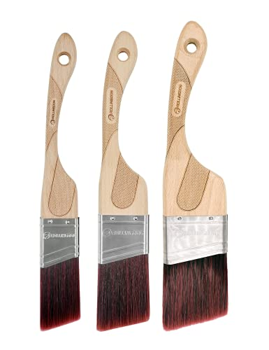 ROLLINGDOG 3PC(1.5',2',2.5') Angular Paint Brush Set with Ergonomic Well Balanced Claw Shaped Beech Wooden Handle, Easy Clean Premium Synthetic Filaments, Perfect for Cutting in and Other Detail Work