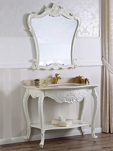 SIMONE GUARRACINO LUXURY DESIGN Console Salle de Bain avec Miroir Eleonor Meuble-lavabo Style Shabby Chic Blanc Vieilli marbre crème