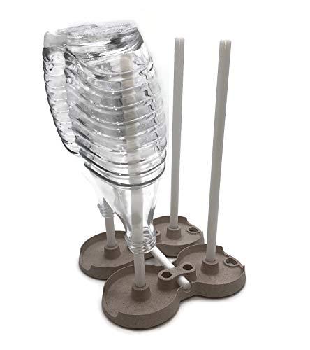STYYL 2er-Set Universal Abtropfständer für 4 Flaschen, Karaffen, Decanter, Thermoskannen, Platzsparend Faltbar, Abtropfgestell Abtropfhalter