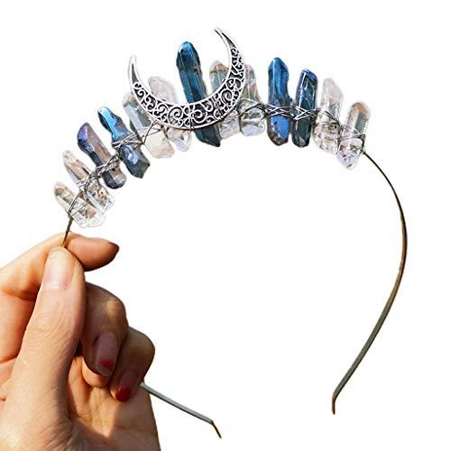 Diademas para mujer, joyería nupcial, multicolor, con cristales crudos, estilo vintage, diseño de luna, bruja