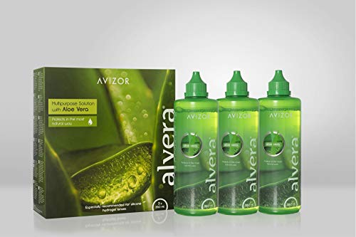 Líquido de lentillas AVIZOR Alvera 3 × 350 ml con estuches. Solución para limpieza y desinfección de todo tipo de lentes de contacto blandas.