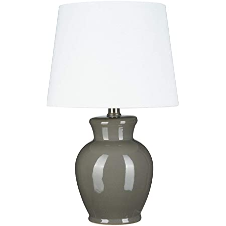 Amazon Brand Ravenna Home Table Lamp With Ceramic Base Bulb Included 16 5 H Charcoal Gray