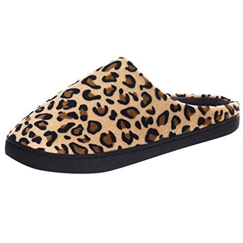 NINGSANJIN - Zapatillas de Hombre de Invierno de Espuma con Memoria, con Forro de Leopardo, Antideslizantes, para Interior y Exterior, Zapatillas, Amarillo (Amarillo), 44/45 EU