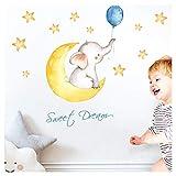 Little Deco Wandaufkleber Kinderzimmer Elefant Spruch Sweet Dream I 123 x 59 cm (BxH) I Mond Sterne Wandbilder Wandtattoo Junge Babyzimmer DL206-9