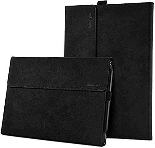 Funda para tablet Microsoft Surface Pro 7/6/5/4/3, delgada, ligera, con múltiples ángulos, compatible con lápiz y teclado con cubierta tipo funda (negro)