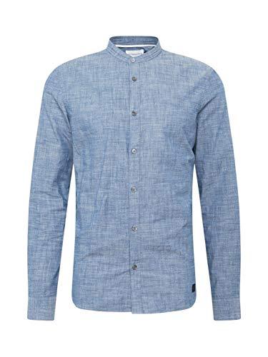 Nowadays Meliertes Hemd mit Stehkragen blau (653 Middle Blue) L