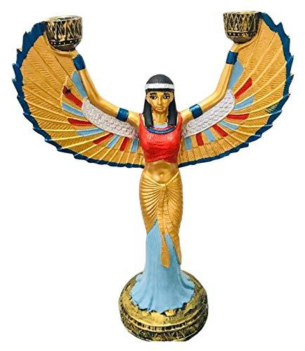 WQQLQX Statue Ägyptische Kerzenständer-Skulptur, ISIS-Modell-Statue-Malerei Ägyptische Göttin handgefertigte Statue-Handwerks-Souvenir-Sammeldekoration Skulpturen