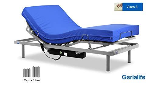 Gerialife Cama articulada con colchón Sanitario viscoelástico Impermeable (105x190)
