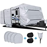 RVMasking Waterproof Travel Trailer RV Cover, Ripstop Camper Cover with 4 Tire Covers & Tongue Jack Cover, 24'-26'