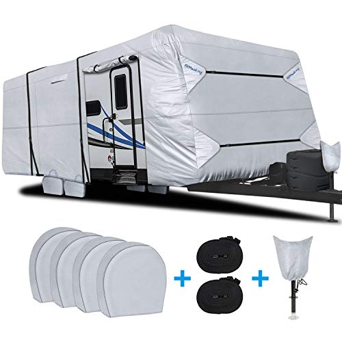 RVMasking Waterproof Travel Trailer RV Cover, Ripstop Camper Cover with 4 Tire Covers &...