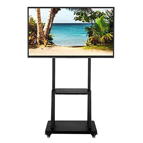 Mobile TV Stand with Mount,Rolling TV Cart TV Trolley Floor Stand Height Adjustable with Dual Shelves & Lockable Caster Wheels for 40 to 80 Inch LCD LED OLED Plasma Flat Panel Screens,Max 180lbs