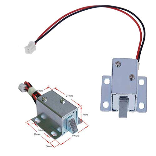 Mini DC 6V/12V Electric Lock Electromagnetic Lock for Door Cabinet Drawer Tool,Electric Lock Assembly Solenoid(3.3x2.7x1.7cm)