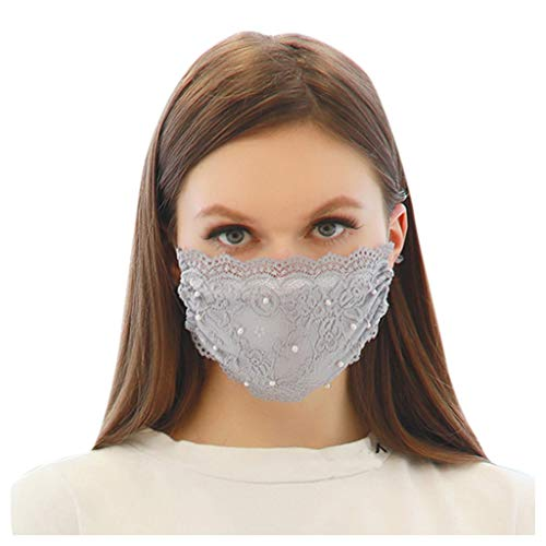 LUCKME Damen Spitze Mundschutz Waschbar Mund und Nasenschutz Elegant Atmungsaktive Bandana Mundbedeckung Halstuch