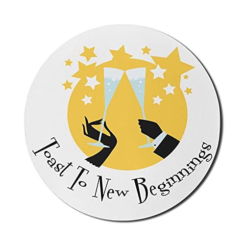 Champagner-Mauspad für Computer, Toast auf neue Anfänge Kalligraphisches Zeremonienkonzept mit Spaß, rundes, rutschfestes, modernes Gaming-Mousepad aus dickem Gummi, 8 'rund, anthrazit und Senf