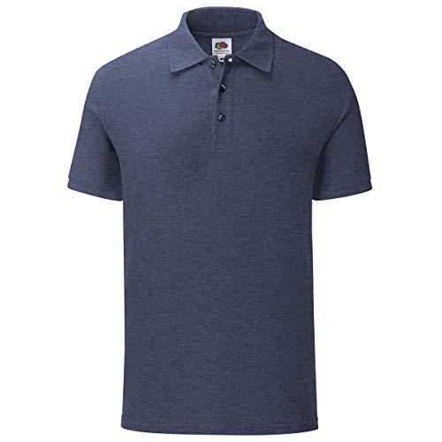 Fruit of the Loom 3er Pack Iconic Polo Shirt Herren Poloshirt Mehrpack Größe S - 3XL, Größe:L, Farbe:Vintage Navy meliert