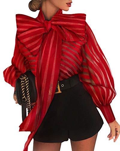 MAHUAOYIXI Blusa de mujer de manga larga con cuello de lazo a rayas para mujer blusa elegante sexy mujer moda blusa mujer blusa mujer camiseta mujer camisa slim, rojo, XL