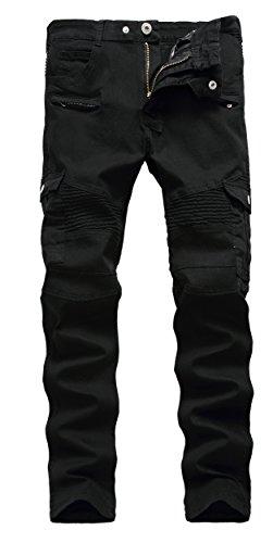 Men's Black Biker Jeans Slim Straight Stretch Skinny Fit Moto Denim Jeans,W38,Black