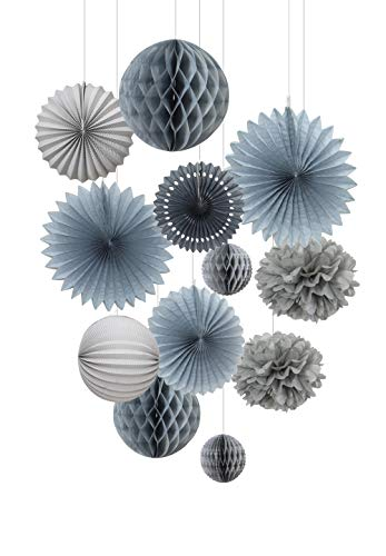 EASY JOY Grau Dekoration Papier Pompom Rosetten Lampion Seidenpapier Wabenbälle Feier Deko