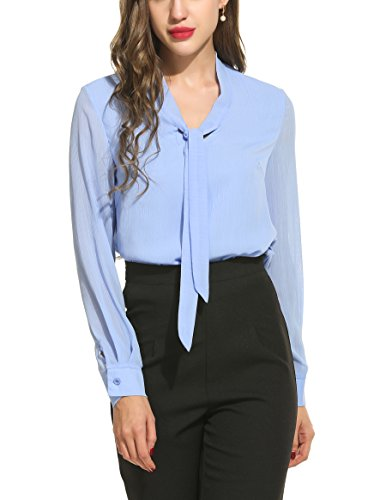 ACEVOG Chiffon Blouses Womens Long Sleeve Collared Work Blouse with Tie,Light Blue,Small