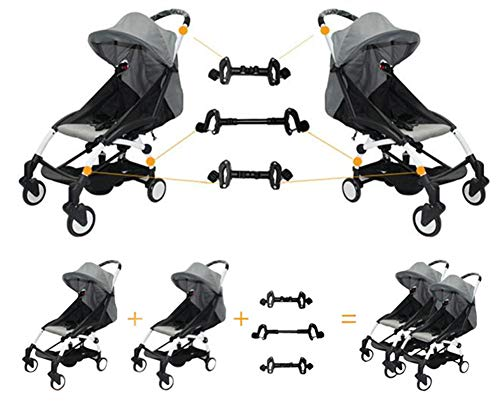 Twin Stroller Connector for Baby Fits Umbrella Strollers Babyzen YOYO Yoya Etc. Turns Two Single Strollers into a Double Stroller