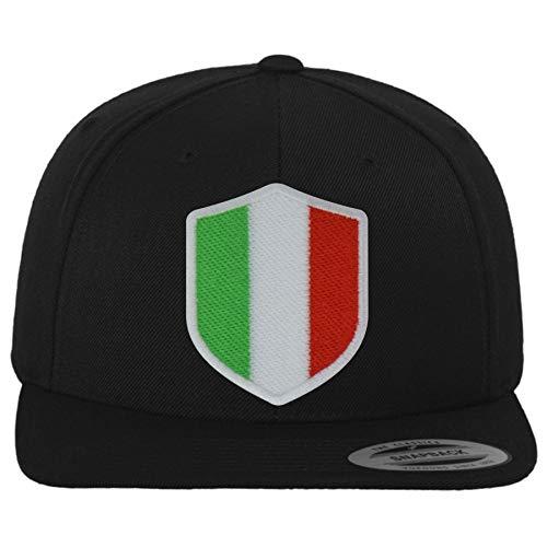FanShirts4u Classic Snapback ITALIEN mit Wappen Baseball Cap (schwarz/Wappen weiß)